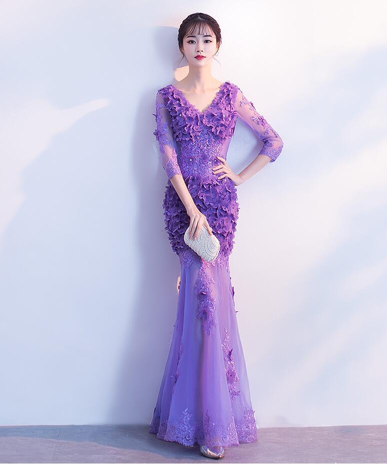 Lavande princesse Robe De soirée Merm nouvel an fée Robe De bal pour jeune femme 3D fleur illusion Robe formelle Robe De soirée
