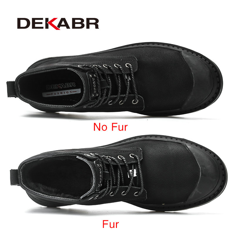 DEKABR Black Warm Winter Men Boots Genuine Leather Ankle Boots Men Winter Work Shoes Men Military