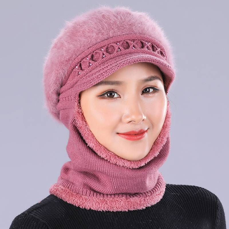 Ymsaid Winter Hats   Skullies     Beanies   Hat For Women Rabbit Hair Scarf Caps Balaclava Mask Gorras Bonnet Pearl Stripes Knitted Hat