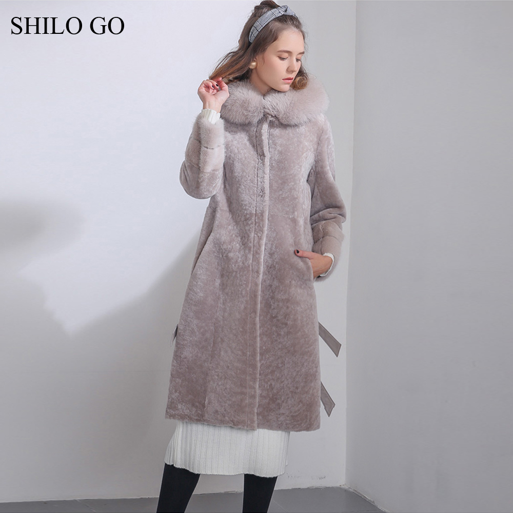 SHILO GO Fur Coat Womens Winter Fashion Merino sheep fur long coat hooded real fox fur collar leather button warm fur coat