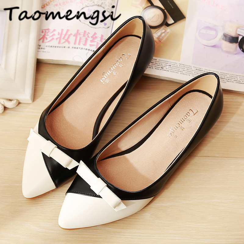 Taomengsi 2017 New spring summer autumn fashion Women's Flats Shoes Leather Woman Casual Shoes Ladies/plus size 33-43 color 3 2017 new fashion spring ladies pointed toe shoes woman flats crystal diamond silver wedding shoes for bridal plus size hot sale