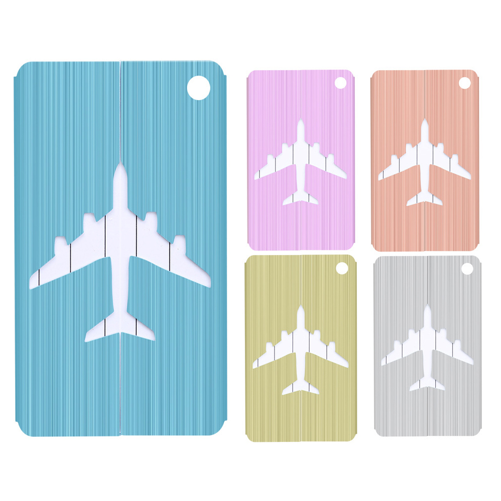 Hot Sale Luggage Tag Airplane Square Shape ID Suitcase Identity Address Name Labels Travel Accessories