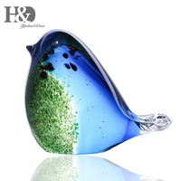 H&D Glass Bird Handmade Blown Glass Figurine Christmas, Birthday Gift Decorative Ornaments for Home Blue and Green Paper Weight