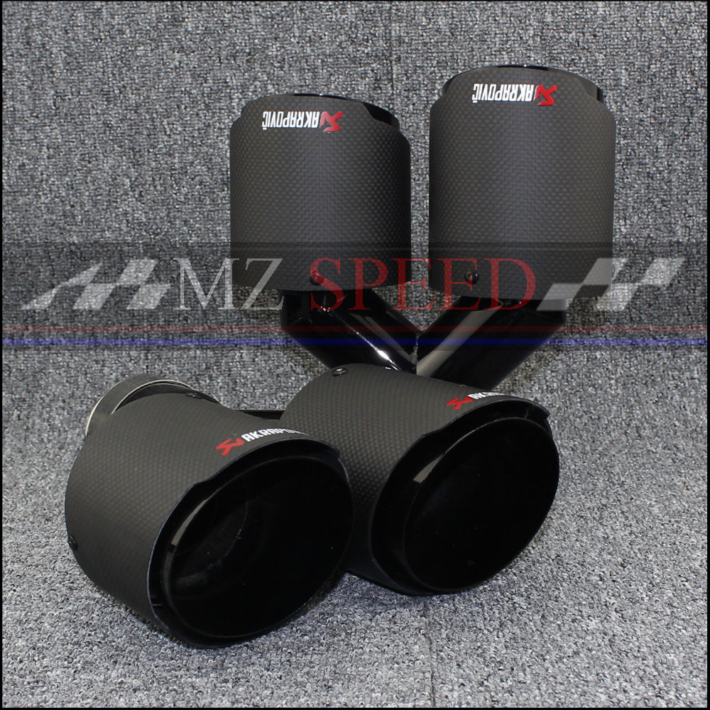 Car exhaust pipe Y Model Akrapovic Carbon Exhausts Dual End Tips for BMW BENZ AUDI VW Exhaust Dual Muffler Pipes Tail Tips