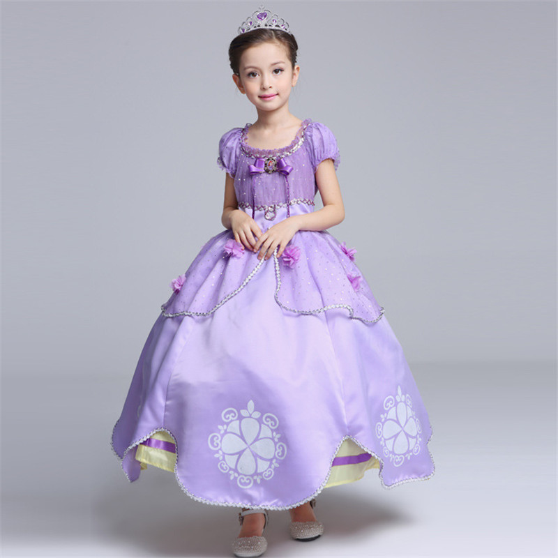Summer Princess Party Dresses Girls Sofia Cosplay Costume 5 Floral Children Kids Halloween Birthday Party Fantasy Tutu Dresses devil may cry 4 dante cosplay wig halloween party cosplay wigs free shipping