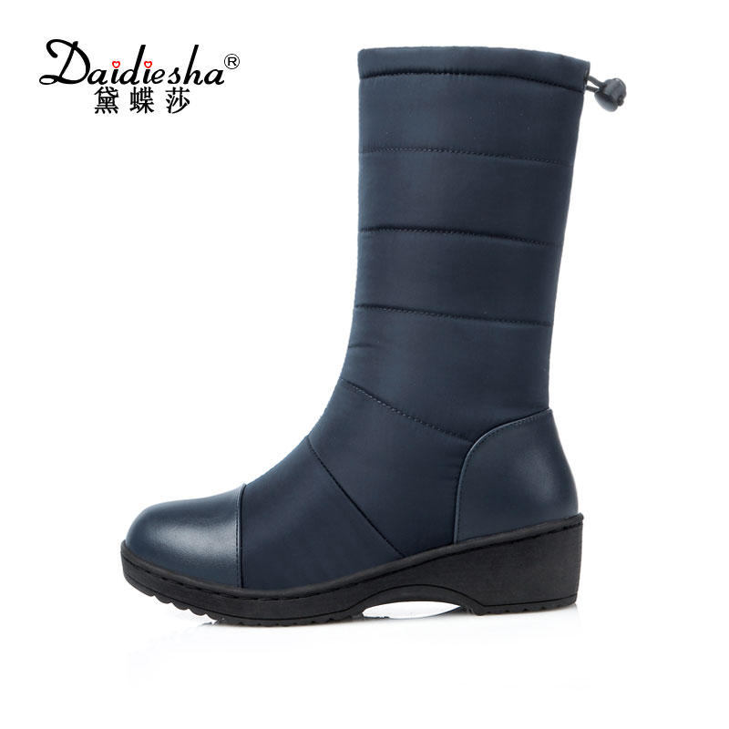 Daidiesha 2017 new fashion Russia keep warm thick fur snow boots wedges heels platform knee high boots winter shoes woman 11cm heels 2013 new winter high platform soled high heeled snow boots female side zipper rabbit fur thick heels snow shoes h1852