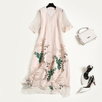 Silk cotton v neck Chinese style embroidery loose a line party long dress 2018 new high quality office lady women summer dress