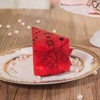 50 pezzi Laser Rosso di Disegno Del Fiore Caramella di Cerimonia Nuziale, Regalo della Festa nuziale Favore Borse, sacchetti di caramelle Regalo & Box