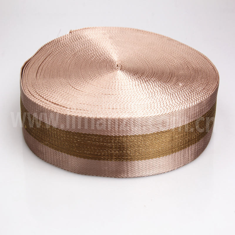 wide nylon webbing 40mm gold line high quality nylon webbing twill