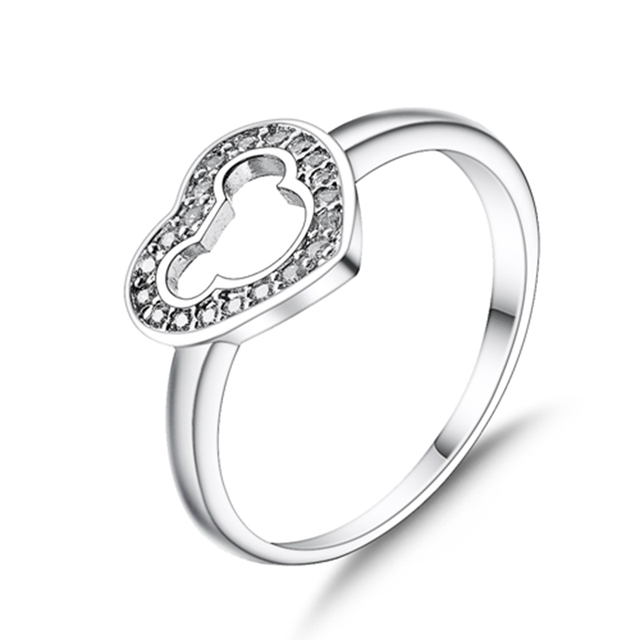 Heart 925 Silver Ring with Cubic Zirconia and Cut out Mickey