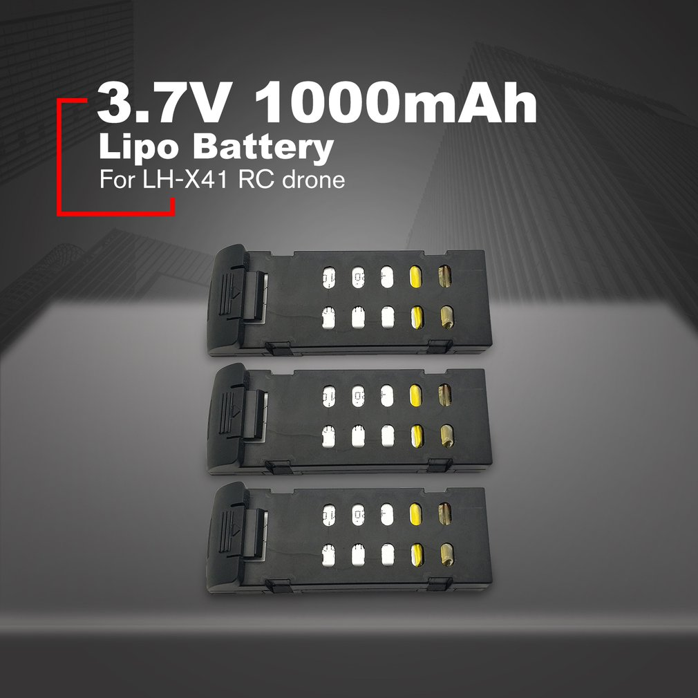 3 Pcs <font><b>3.7V</b></font> <font><b>1000mAh</b></font> <font><b>Lipo</b></font> Battery for LH-X41 RC Drone Spare Part Large Capacity Battery Replacement Lithium Battery image