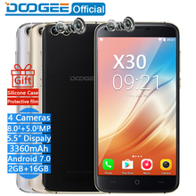 DOOGEE X30 Mobile phone Quad Camera 2×8.0 MP +2 x5.0 MP Android 7.0 3360 mAh 5.5″ HD MTK6580 A Quad Core 2GB RAM 16 GB ROM Smartphone