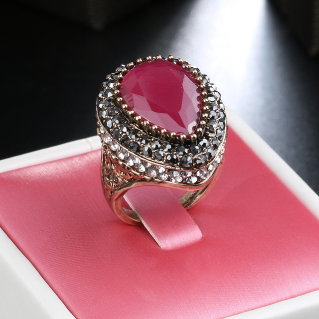 Gulkina Red Resin Big Ring For Women Wedding Party Accessories Antique Gold CZ M