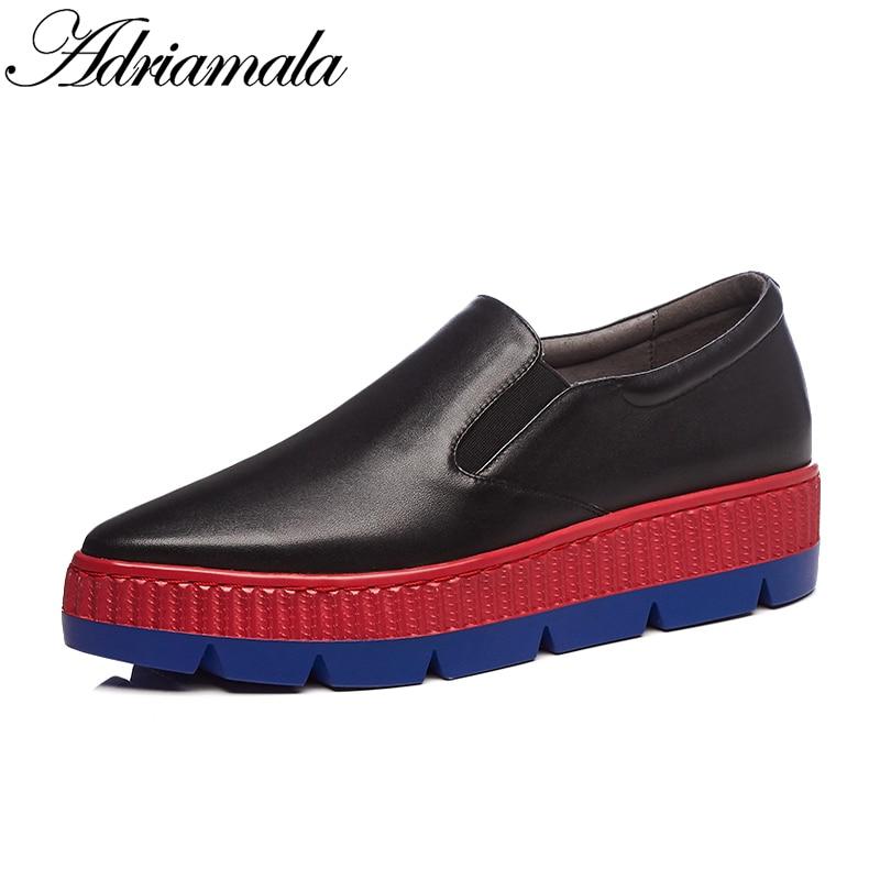 Printemps forme on Slip Femmes Véritable Vachette black Plate Pointu Bout Chaussures  2018 Cuir Adriamala Mocassins ... b27202fe57e6