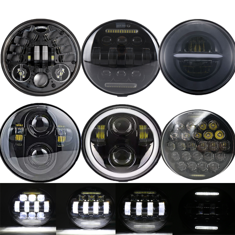 5.75 Inch Motorcycle LED Headlight Hi Low Beam Light Bulb 6000K Front Headlight Housing Bucket Moto Headlamp For Harley Yamaha
