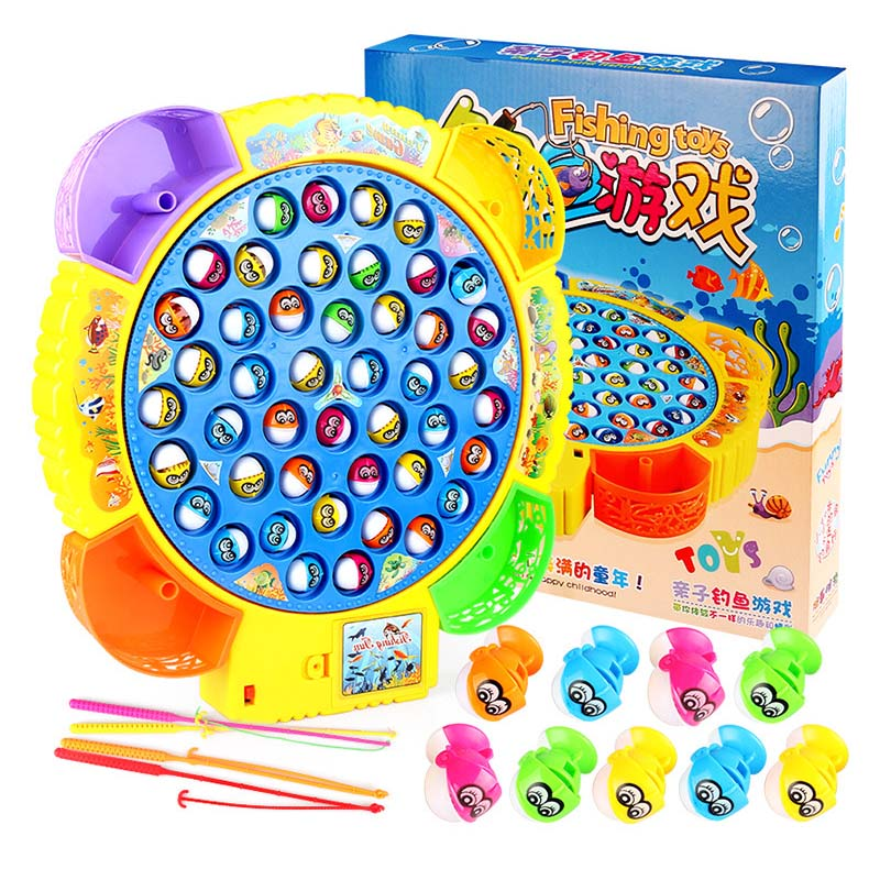 цена на Classical Fishing Toys Set For Kids Educational Toys With Music Electric Rotating Fishing Game Funny Sports For Birthday Gift