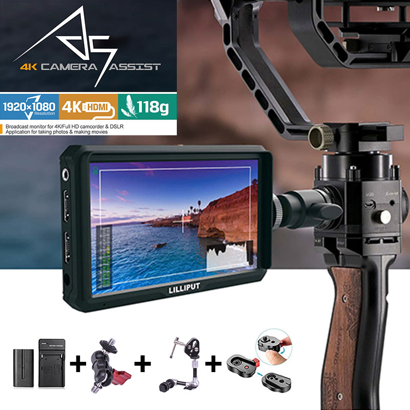Lilliput A5 1920x1080 4K HDMI in/out Broadcast 5 inch Camera/Video Field Monitor for Canon Nikon Sony Zhiyun Gimbal smooth 4 цена