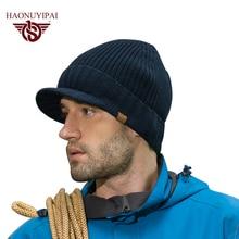 New Arrive Winter Men Knitted Hats Cotton Acrylic Brim Caps Outdoor Ski Earflap Beanie Skullies Cap Warm Christmas A046