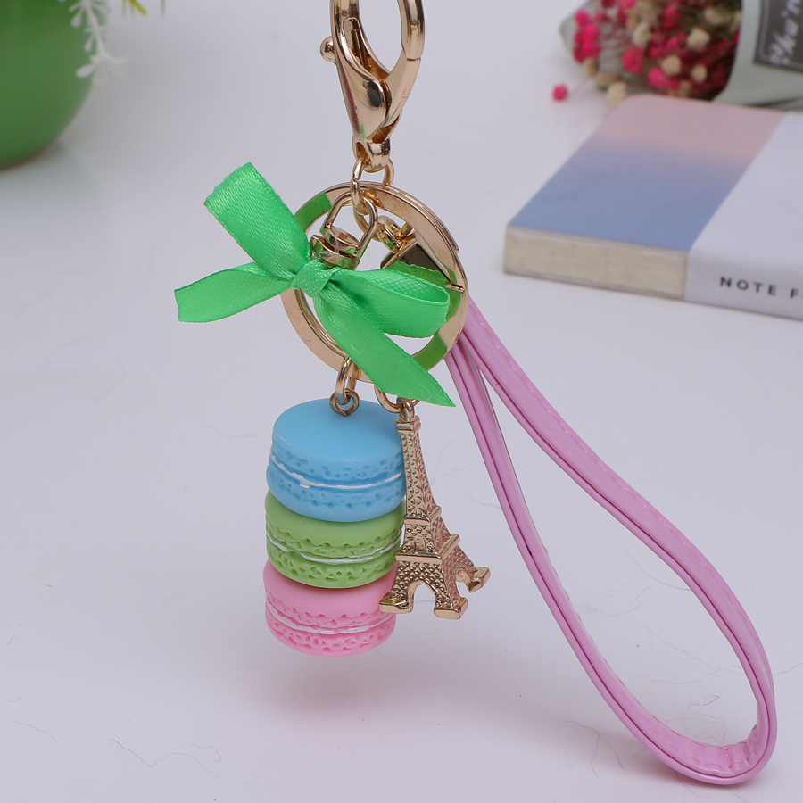 1PCS Creative Novelty trinket In France Tower cake macarons car keychain charm women han ...