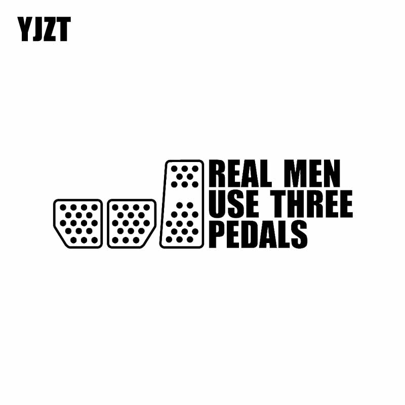 YJZT 19.8CM*5.7CM REAL MEN USE THREE PEDALS Vinyl Decal Car Sticker Drift Racing Clutch Black Silver C10-01113 image