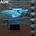 Free Shipping Novelty Light Star Trek 3D Night light 7 Colors Changing LED Lamp 3D Table Lights Atmosphere Lamp Luminaria Decor