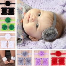 1set/3Pcs Baby Headband Foot Flower Elastic Hair Band Accessories