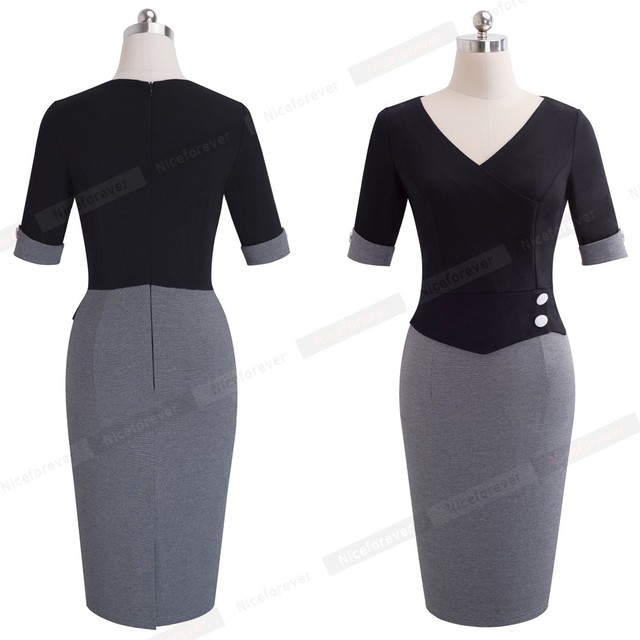 Elegant Women Work Wearing Patchwork V Neck Sheath Pencil Office Dress 1