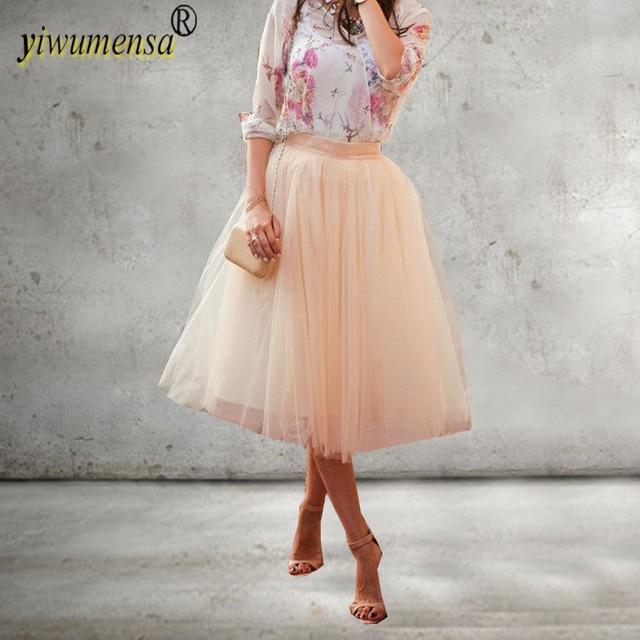 7b8259133 Yiwumensa envío libre 60 cm Rosa 6 capas mujeres tulle Faldas para bodas  fiesta Tutu falda