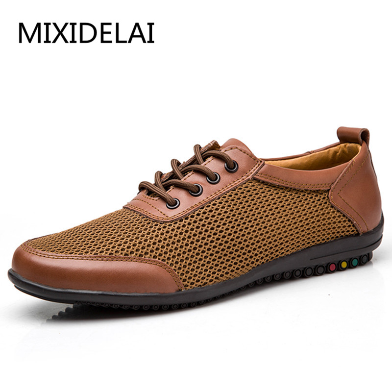 New Summer Brand Men Shoes Genuine Leather Casual Shoes Men Loafers Comfortable Fashion Zapato Breathable Mesh Flat Man Shoes 100% new and original xgf po3h xgf p03h ls lg plc special module positioning module