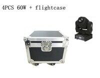 4 шт. 60 Вт DMX света этапа + кейс светодиодный место перемещение головного света/США Luminums 60 Вт светодиодный DJ пятно света
