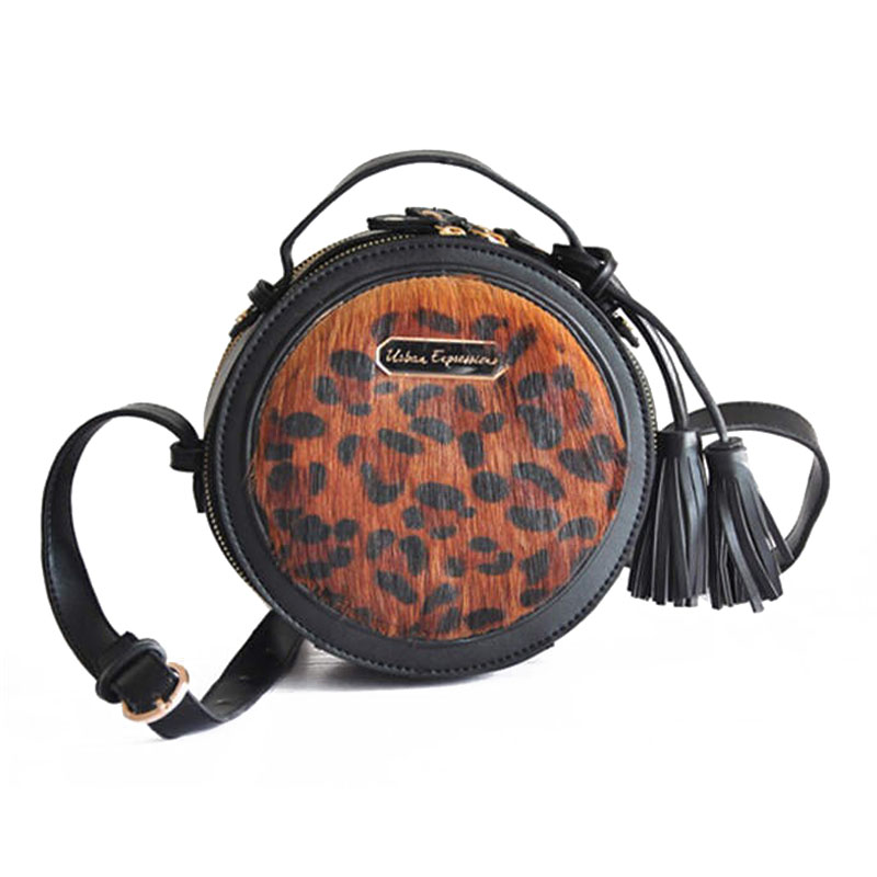 2016 Korean Famous Brand Leopard Tassel Leather Women Messenger Bags Horse Hair High Quality Mini Round