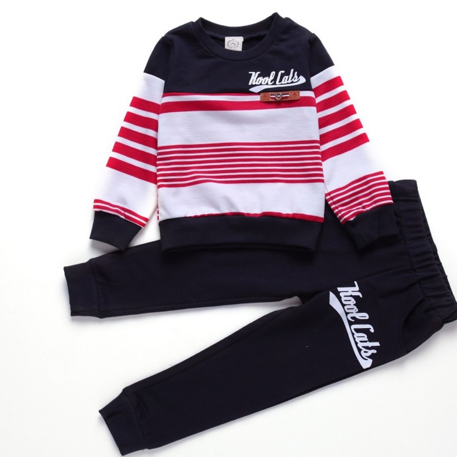 Children Clothing 2018 Spring Long Sleeve Stripe Two Pieces Sets New Year Costumes For Boys Clothes Kids Casual Sport Suits 2017 brand spring children s boy and girlsclothing sets kids tiger printed two pieces suits cotton toddler outerwear coustme