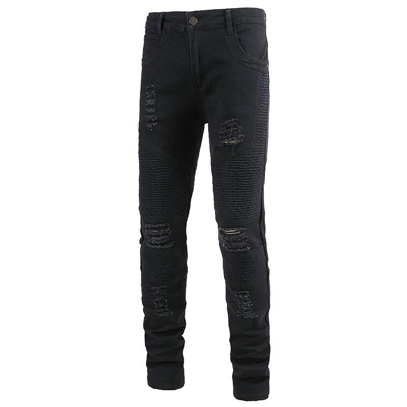 Sokotoo Men's black holes ripped biker jeans for motorcycle Plus large size slim skinny straight stretch denim pants