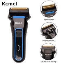 Kemei 100-240 v eléctrico recargable sin cuerda grommer de vaivén de doble hojas de afeitar del condensador de ajuste para los hombres de afeitar machine50