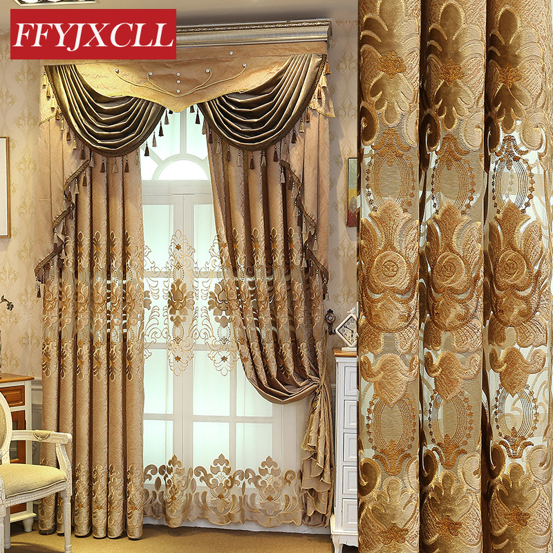 Europe Floral Embroidered Window Valance Curtains Jacquard Brown For Living Room Curtains For Bedroom Kitchen Drapes Home