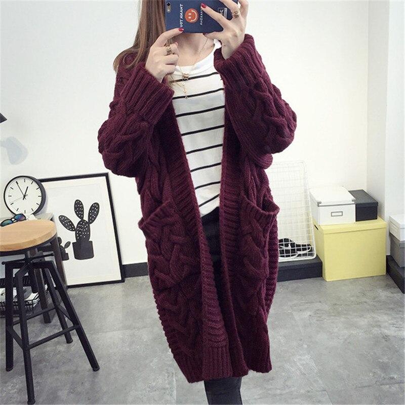 Long Cardigan Female 2018 Autumn Long Sleeve Plus Size Solid Cardigan Women Sweater Pockets Women Knitted Jacket Tops