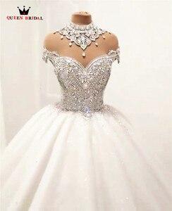 Image 4 - Custom Made Luxe Baljurk Pluizige Glitter Tulle Crystal Kralen Diamant Formele Trouwjurken Bruidsjurken SC12