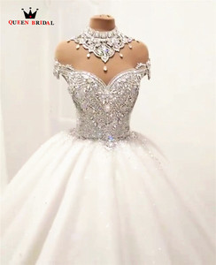 Image 4 - Custom Made Luxury Ball Gown Fluffy Glitter Tulle Crystal Beaded Diamond Formal Wedding Dresses Bridal Gowns   SC12
