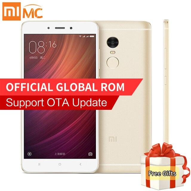 """Original Xiaomi Redmi Note 4 Smartphone 3GB RAM 32GB ROM MTK Helio X20 Deca Core 5.5"""" 1080P MIUI 8 Fingerprint ID 13.0MP 4100mAh"""