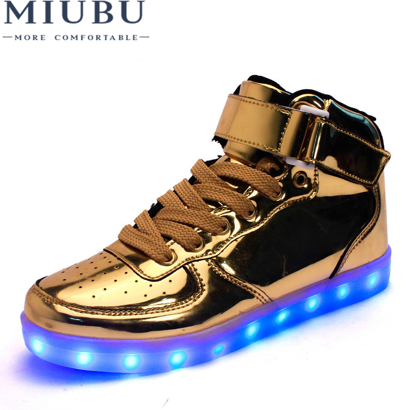 MIUBU Hot Sale Golden Silver Big Size 46 Led Shoes Men Glowing Cool Light Flat Shoes High-top Light Up Boots For Adults size 36 43 led shoes glowing 7 colors led women fashion luminous led light up shoes for adults