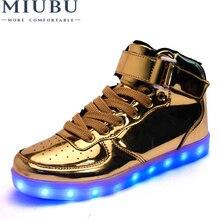MIUBU Hot Sale Golden Silver Big Size 46 Led Shoes Men Glowing Cool Light  Flat Shoes e20965a5d900