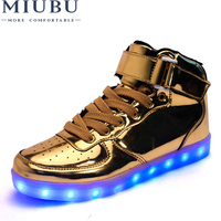 MIUBU Hot Sale Golden Silver Big Size 46 Led Shoes Men Glowing Cool Light Flat Shoes High top Light Up Boots For Adults