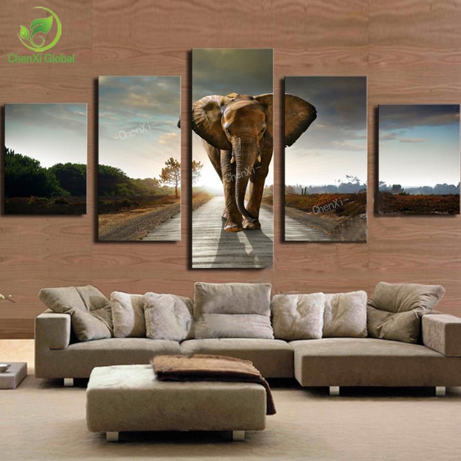 Aliexpresscombuy 5pcs Elephant Painting Canvas Wall Art