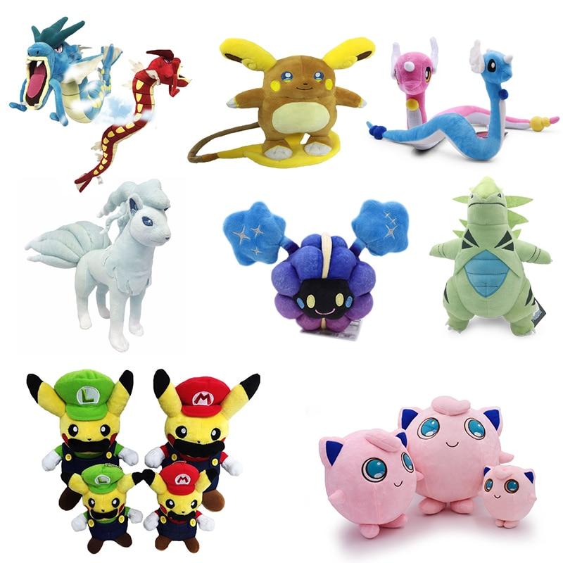 Dragonair&Drago&Gyarados&Pikachu Cosplay Super Mario Bros Luigi&Cosmog&Jigglypuff&Ninetales&Tyranitar&Alola Raichu Plush Toys