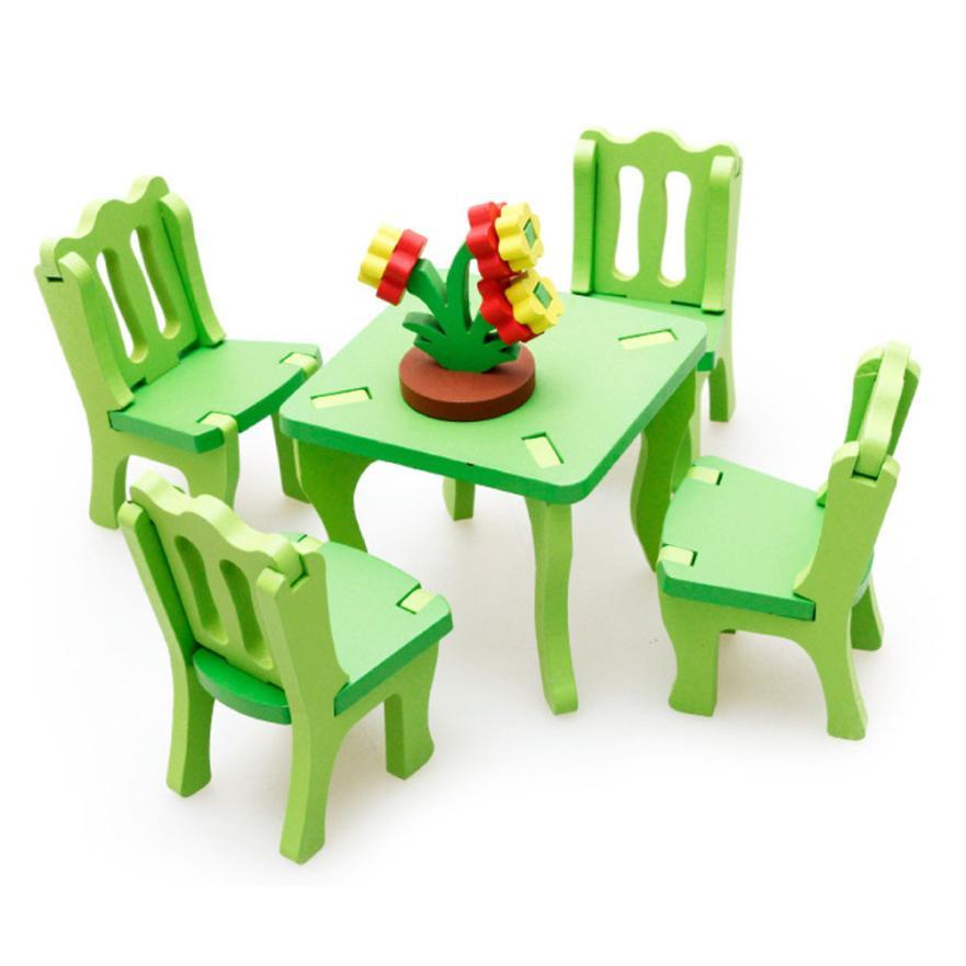 Наклейки детские развивающие игрушки Деревянные 3D домашний стол стул комод костюмы для дома Q30 aug21