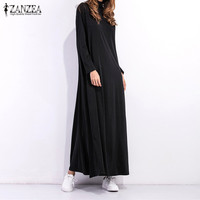 Vestidos 2017 Spring Autumn Women Long Maxi Dress Ladies Turtleneck Long Sleeve Solid Vintage Casual Loose