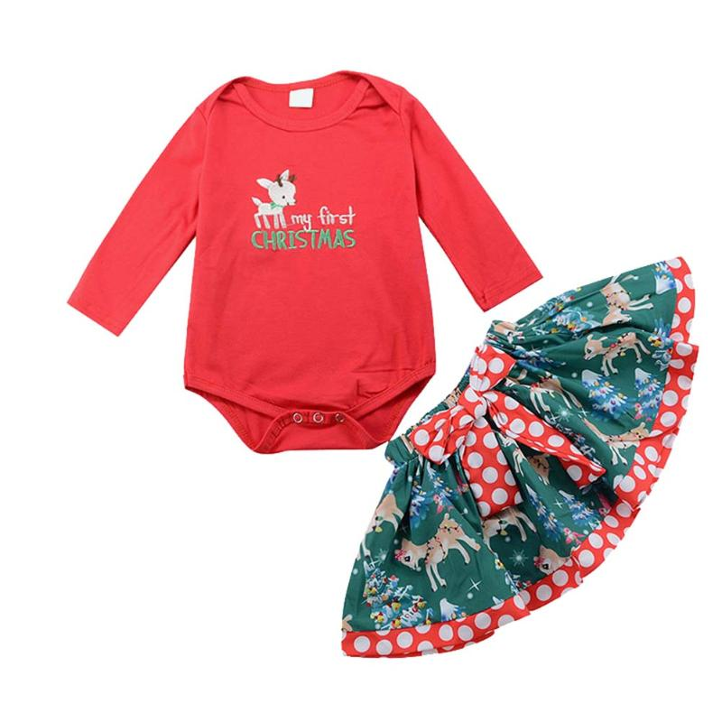 Stylish Baby Girls Christmas Clothes Set Red Embroidery Long Sleeve Romper Top + Bowknot Deer Printed Skirt Bottom Xmas Clothing