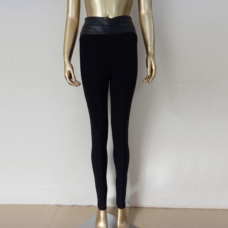 Nouveau Style femmes hiver pantalon 2018 mode PU cuir Slim taille haute moulante crayon Leggings noir Bandage pantalon Skinny pantalon - 5