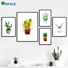 Watercolor Cactus Potted Plant Nordic Posters And Prints Modern Wall Art Canvas Painting Pictures For Living Room Decor