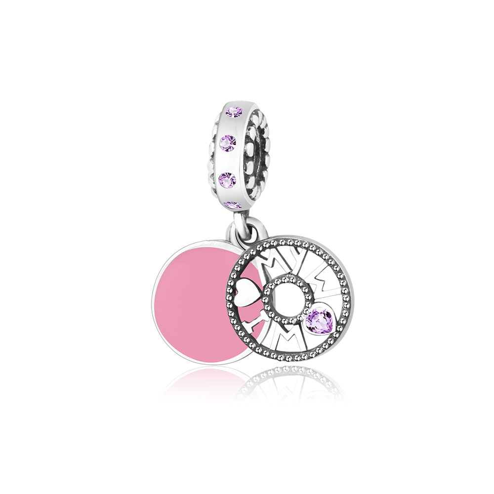 Fit Original Pandora Charms Bracelet 925 Sterling Silver I LOVE MY MOM Heart Dangle Charms Beads With CZ Jewelry Making berloque